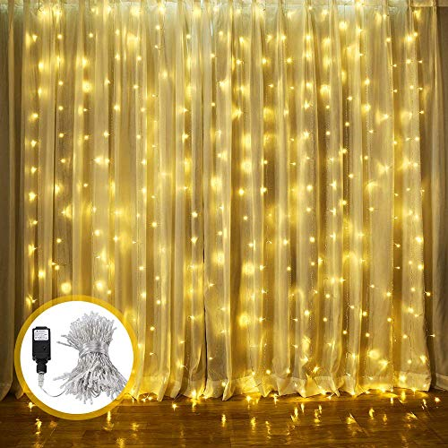 Curtain String Lights, LED Window Curtain Lights, 9.8ft x 8.2ft 8 Modes Plug in Window String Lights for Wedding Party Home Garden Bedroom Outdoor Indoor Wall Decorations, Warm White (300 LED)
