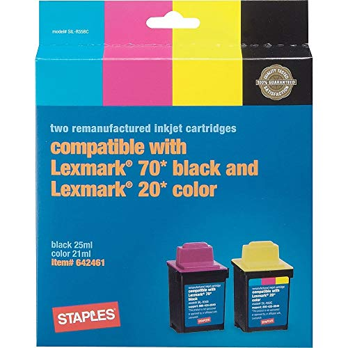 Staples Remanufactured Black and Color Ink Cartridges Compatible with Lexmark 70/20, 2/Pack