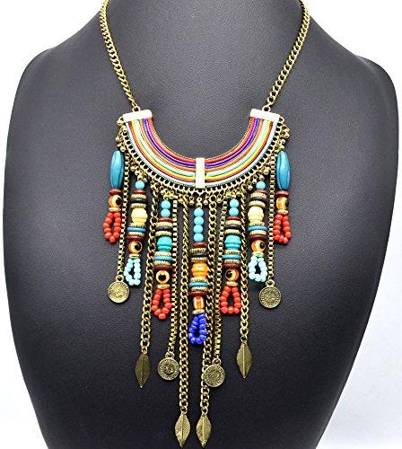CC1246E - Collier Plastron Ethnique Pendentif Arc-en-Ciel Perles et Multi-Chaînes Feuilles Pièces Métal Vieilli - Mode Fantaisie
