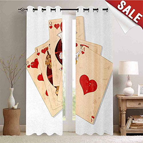 Alice in Wonderland Blackout Draperies for Bedroom Crown Gambler Queen Hearts Royal Fairy Flush Face Magic Theme Thermal Insulating Blackout Curtain W84 x L108 Inch Brown Red and Ecru