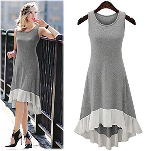 Hot Sale ! New Fashion Women Sleeveless Chiffon Hem Dress, Ninasill Exclusive Chiffon Casual Dress (XXXXL, Gray)