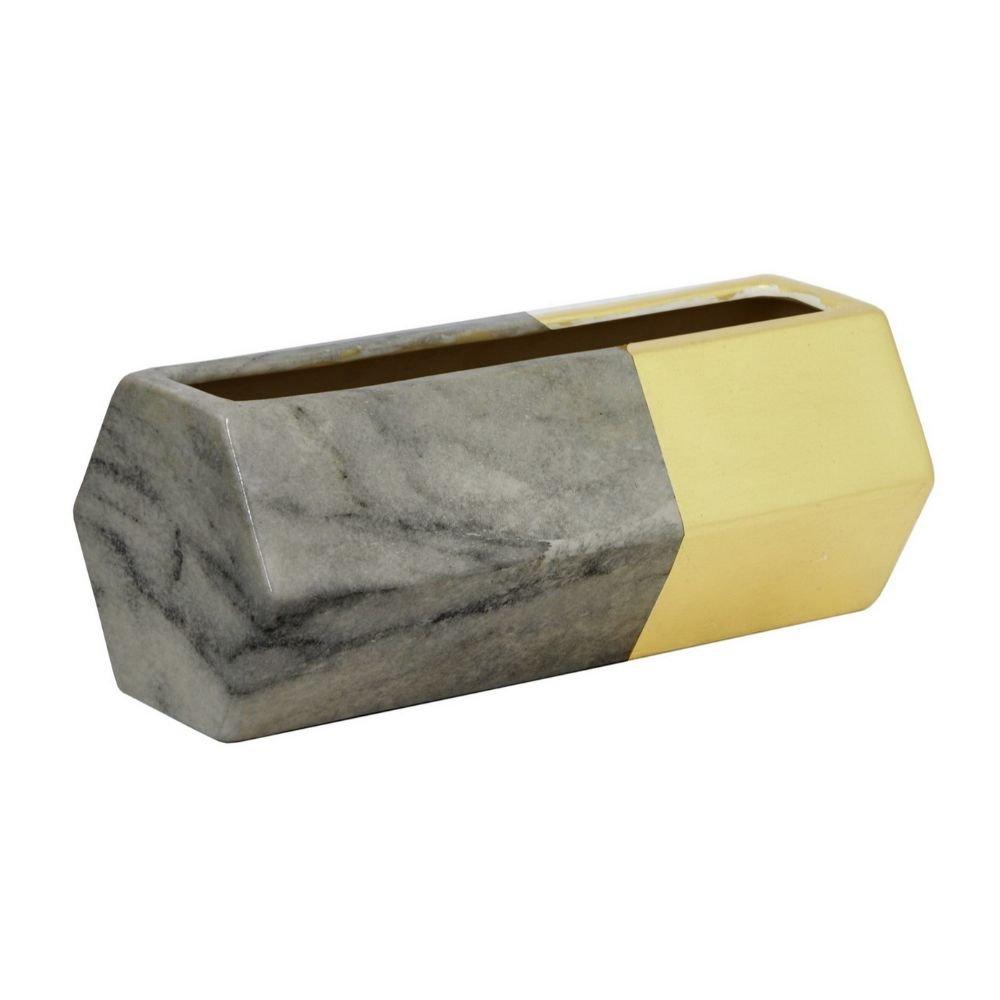 Benzara HRT-19471 3.75 Dark Grey /& Golden Ceramic Vase