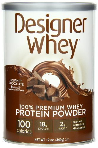 Designer Protein 100% Premium Whey Protein Powder, Gourmet Chocolate, 12-Ounce (Pack of 2) by Designer Protein