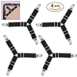 #5: BetyBedy 4Pcs Triangle Bed Sheet Holder, Adjustable Sheet Band Straps Fasteners Suspenders, Bed Sheet Keeper Grippers for Mattress Pad Cover, Sofa Cushion (Black)