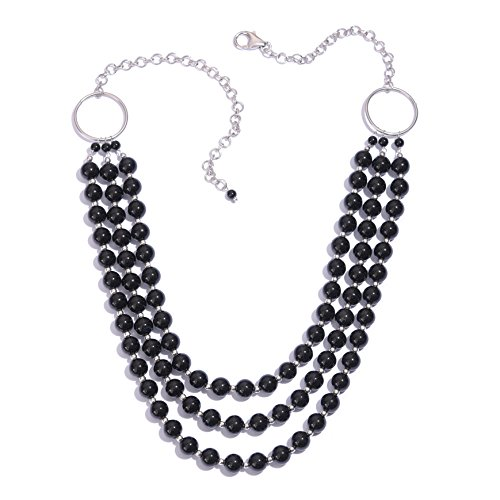 Black Onyx Platinum Plated Silver Strand Necklace for Women Size 20