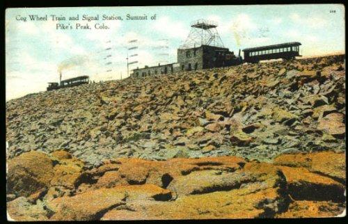 (Cog Wheel Train Pike's Peak CO postcard 1909)
