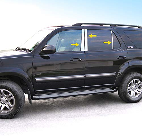 MAXMATE Made in USA! Works with 2001-2007 Toyota Sequoia 6 PC Stainless Steel Chrome Pillar Post Trim