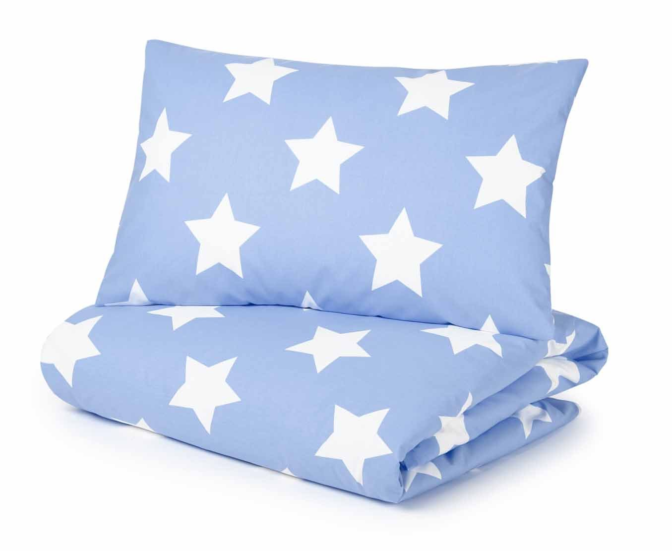 Cot Bed Duvet Cover and Pillowcase Set, Blue with White Stars Pixie and Jack