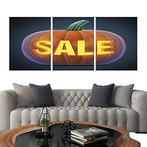 UHOO Frameless Paintings 3 Pieces Painting CollectionHalloween Pumpkin with Carving. Hotel Office Decor Gift 24