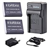 Bitbiz NB-6LH NB-6L Battery + AC Wall & DC Car 2-in-1 Battery Charger for Canon Powershot D10 S95 SD1300 SX500 IS, 2 Piece