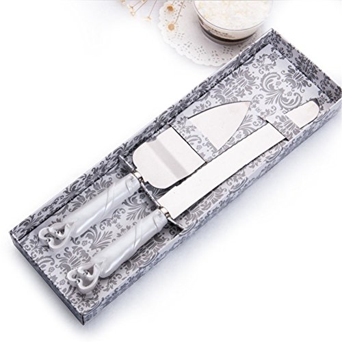 Cake Knife Server Set with Fashion craft Baroque,Interlocking hearts design, Elegant Stainless Steel Silverware For Personalized Weddings, Birthdays, Anniversaries