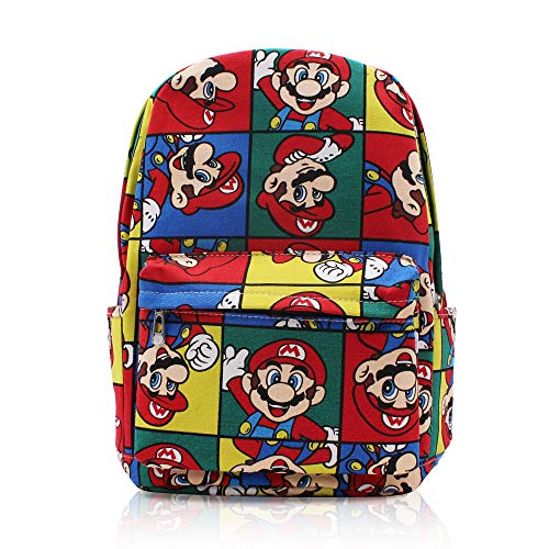 (Finex Super Mario Brother Bros Multicolored Classic Canvas Casual Backpack with 15 inch Laptop Storage Compartment Daypack Travel Snack Sport Book Bag Gift)
