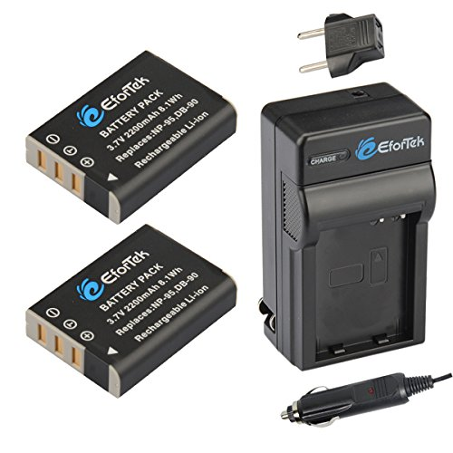 EforTek NP-95 Replacement Battery (2-Pack) and Charger Kit for Fujifilm NP-95,Ricoh DB-90 and Fujifilm FinePix F30, FinePix F31fd, FinePix Real 3D W1 , FinePix X100,X100S,X-S1,X30,X100T,Ricoh GXR