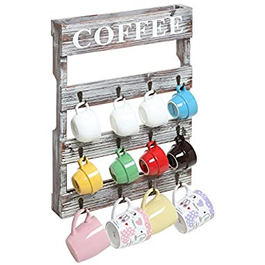 12 Hooks Rustic Style Wood Wall Mounted Coffee Mug Rack, Tea Cup Holder Storage Organizer, Medium