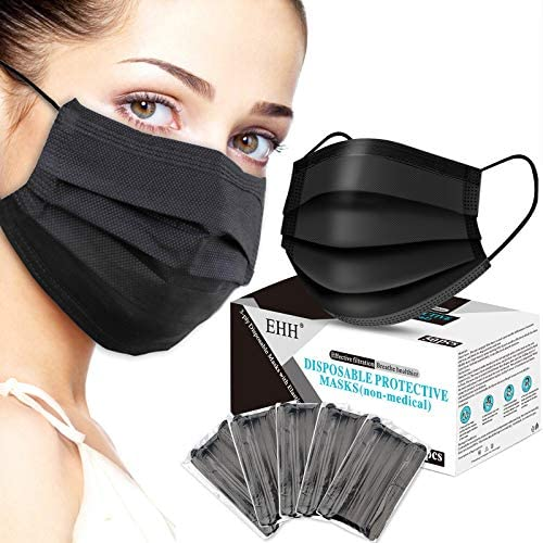 EHH Black Disposable Face Mask, Face Mask for Man for Women, Breathable & Comfortable, 3- Ply, with Elastic Ear Loop (50 Pcs), Black