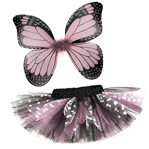 [Rockstar Tutu Baby Girl's Butterfly Tutu and Wings Costume Set -Light Pink-12-24 Months (17-20