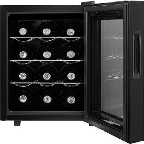 MD Group Bottle Wine Cooler 12 Bottle Capacity Thermoelectric Cooling Black Chrome Cellar