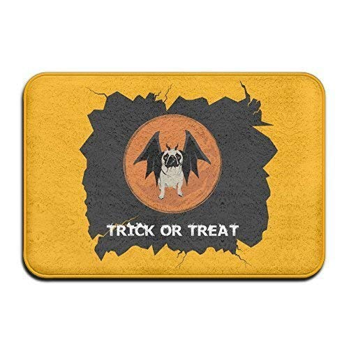 YGUII Trick Or Treat Halloween Funny Pug Non-Slip Doormat Floor Door Mat Indoor Outerdoor Bathroom 16X23.6in (40x60cm)
