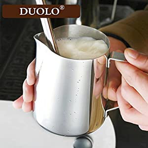 Milk Pitcher - Duolo Stainless Steel Creamer Coffee Milk Frothing Pitcher Cup With Dripless Pouring Spout - Perfect for Espresso Machine,Cappuccino Hot Milk Frother and Latte Maker from Duolo