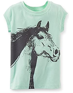 Baby Girl Mint Green Cap-Sleeve Horse Tee