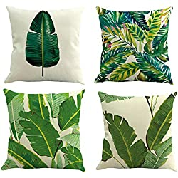 "Pack of 4 Decorative Cushion Cover Cotton Linen Throw Pillow Case Cover Sofa Home Décor ,18""18"",Tropical Leaves"
