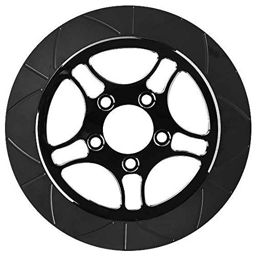 Black 11.8in Lyndall Racing Brakes 738-2315 Fly Cut Front High Carbon Steel Perimeter Rotor