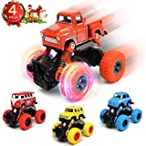WisToyz Monster Trucks for Boys Pull Back Cars (4 Pack), Toys Cars Toys Trucks for 2-7 Years Old Boys, Monster Trucks with Big Wheels Textured Rubber Tires, Pull Back and Go, Kids