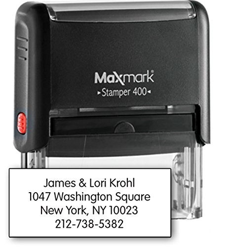 MaxMark Large Size - 4-Line Custom Self Inking Return Address Stamp - w/ 5-Year Warranty Large Business Address Stamp