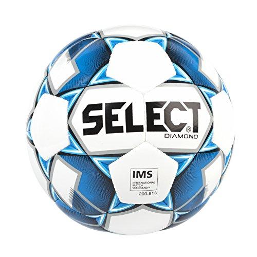 Select Diamond Soccer Ball, White/Blue, Size 5