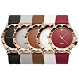 Top Plaza Classic Simple Style No Number Dial PU Leather Band Dress Analog Quatz Wrist Watch Rose Golden Rhombus Flower Case Elegant Business Watches For Womens Ladies