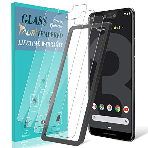 TAURI [3-Pack] Screen Protector for Google Pixel 3 XL, [Alignment Frame] Easy Install [Case Friendly] Tempered Glass Screen Protector, Lifetime Replacement Warranty