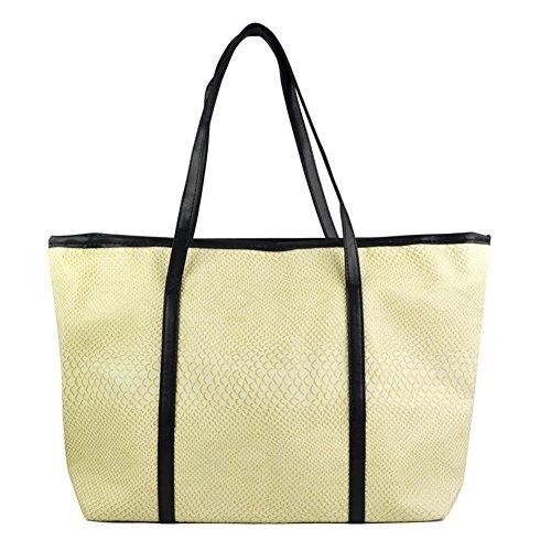 SODIAL(R) - Bolso de tela para mujer negro negro Beige - beige
