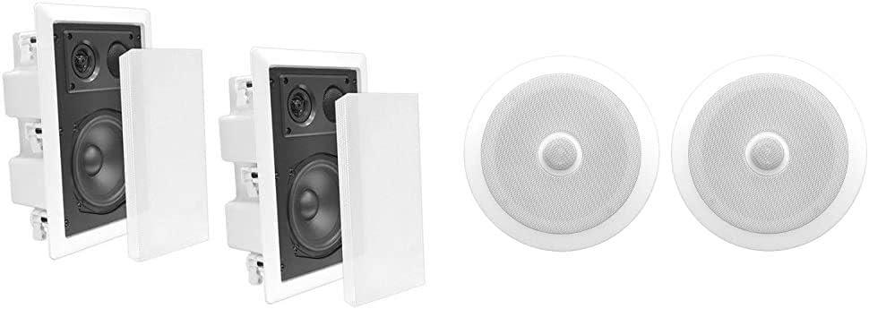 Ceiling Wall Mount Enclosed Speaker - 400 Watt Stereo in-Wall/in-Ceiling 8
