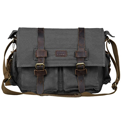 S-ZONE Vintage Canvas Genuine Leather Trim DSLR SLR Camera Shoulder Messenger Bag