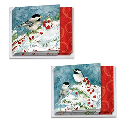 (12 Boxed 'season's Tweets' Happy Holidays Note Cards w/ Envelopes - Featuring Watercolor Images of Beautiful Birds in a Snowy Winter Setting w/ Holly Berries - Assorted Christmas Box MQ4612HHG-B6x2)