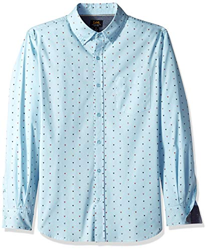 (LEE Men's Long Sleeve Printed Woven, Bailey Dream Blue Large)