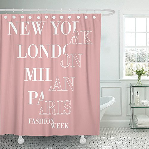 - Emvency Shower Curtain with Hook Polyester Fabric Spliced New York London Paris Milan Week Slogan Pink for and Graphics Sliced Half Waterproof Adjustable Hook Sets 72 x 72 for Bathroom