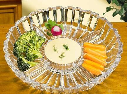 Crystal Clear Alexandria Sectional Dish/Platter, 10-Inch