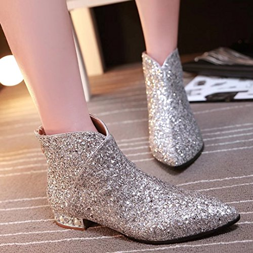 AIYOUMEI Damen Glitzer Flach Stiefeletten mit 2cm Absatz Bequem Herbst Winter Pailletten Stiefel Schuhe Silber
