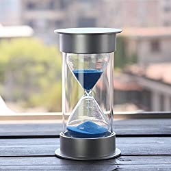 60 Minutes Hourglass,Siveit Modern Sand Timer with Blue Sand for Mantel Office Desk Coffee Table Book Shelf Curio Cabinet or End Table Christmas Birthday Valentine's Present(60Min Blue)
