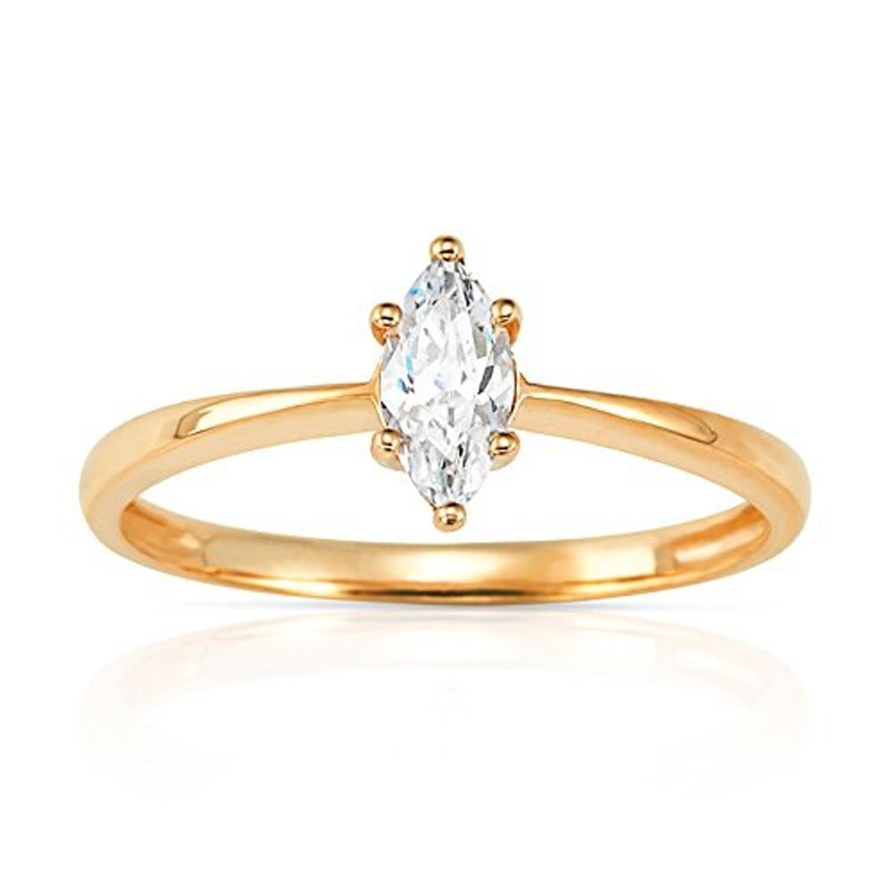 Simple Marquise CZ Stackable Promise Ring in 14K Yellow Gold (6)
