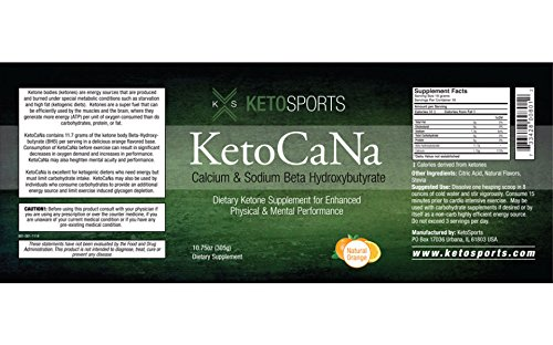 KetoSports KetoCaNa Dietary Ketone Supplement For Physical and Mental Performance, Natural Orange, 10.75 oz. (2 Pack)