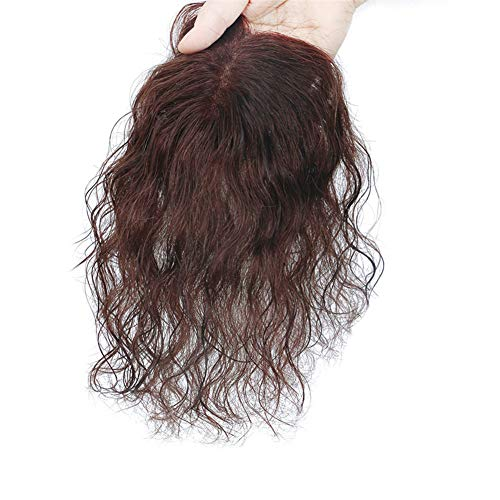 Remeehi 5x8cm Womens Curly Human Hair Toppers Toupee Mono Crown Hairpieces for Thinning Hair with Clip (30cm Dark Brown),Natural Black