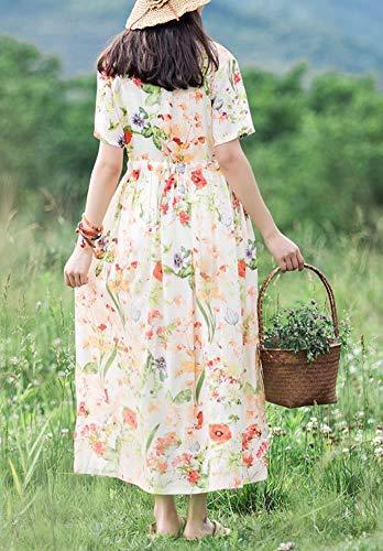 Baumwolle Kleid E Maxi Damen Beige Q32321 Kurzarm Party Feiertagskleid Cocktail Lose Blumen Kleider girl Ax8qBI8a