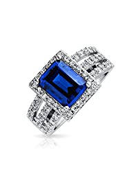 Art Deco Style 3CT Simulated Sapphire Royal Blue CZ Triple Pave Split Band Engagement Statement Ring 925 Sterling Silver