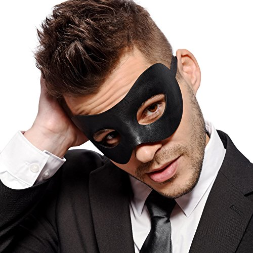 Classic - Men's Black Masquerade Mask - Faux Leather - Venetian - Mens - Unisex - Fancy (Black Masquerade Mask For Men)