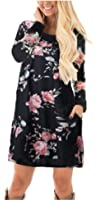 ETCYY Women's Long Sleeve Floral Casual O Neck T-shirt Dress With Pocket