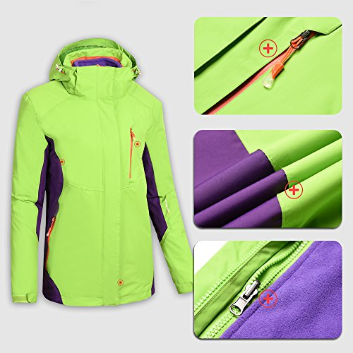 Heated Jacket Women,Waterproof Jacket with New Heating System,Auto-heated Winter Coat For Girls Woman Hooded Windbreaker (XL, Green) by redder (Image #3)