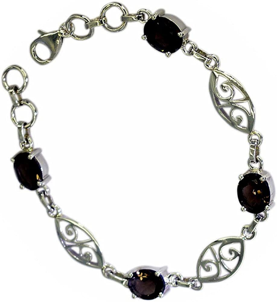 55Carat Genuine Oval Shape Smoky Quartz 925 Sterling Silver Vintage Style Bracelet for Gift Length 6.5-8 Inches