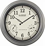 """La Crosse Technology WT-3181P 18"""" Outdoor Atomic Wall Clock with Temperature/Humidity"""